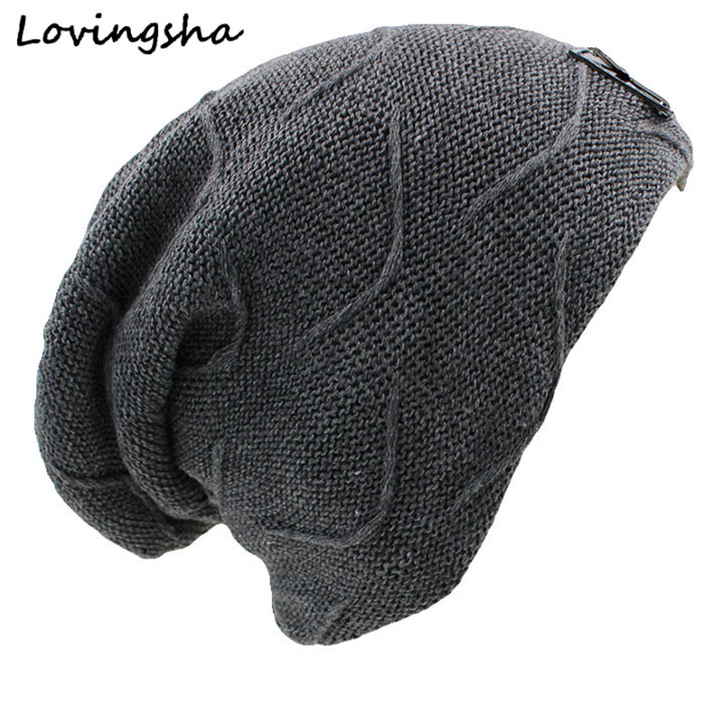 LOVINGSHA Skullies Bonnet Winter Hats For Men Women Beanie Men's Winter Hat Caps Faux Fur Warm Baggy Knitted Hat Beanies Knit skullies