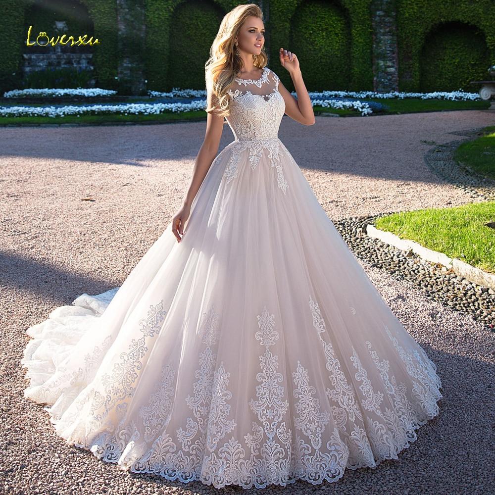 Loverxu Vestido De Noiva Sexy Backless Princess Wedding Dresses 2019 Appliques Cap Sleeve Court Train A