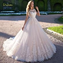 Loverxu Vestido De Noiva, сексуальное свадебное платье принцессы с открытой спиной,, с аппликацией, с коротким рукавом, со шлейфом, ТРАПЕЦИЕВИДНОЕ кружевное свадебное платье