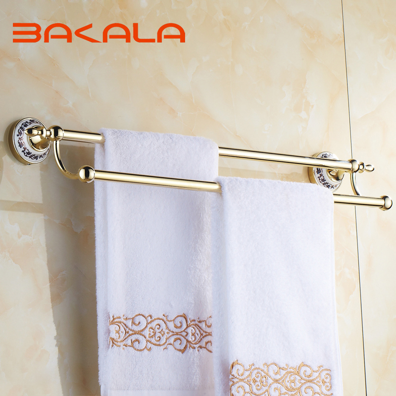BAKALA Free Shipping Wholesale And Retail Wall Mounted Gold-plate Towel Bars Bathroom Golden Dual Poles Towel Rod  BR-5510 free shipping wholesale and retail brass towel ring wall mounted towel rack rail gold chrome rose gold