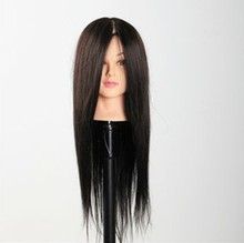 100% Real Human Hair Training Head Black Hairdressing Mannequin for Professional Style Salon Use