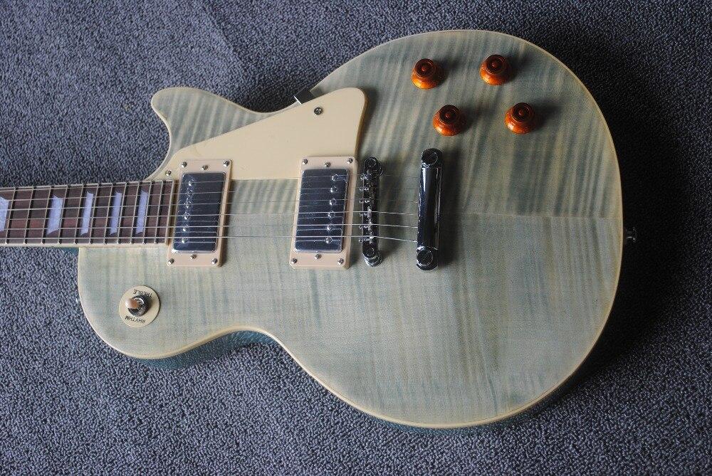 Factory Custom Black LP Electric Guitar,Chrome Hardwares,Flame Maple Veneer,Offer Customized