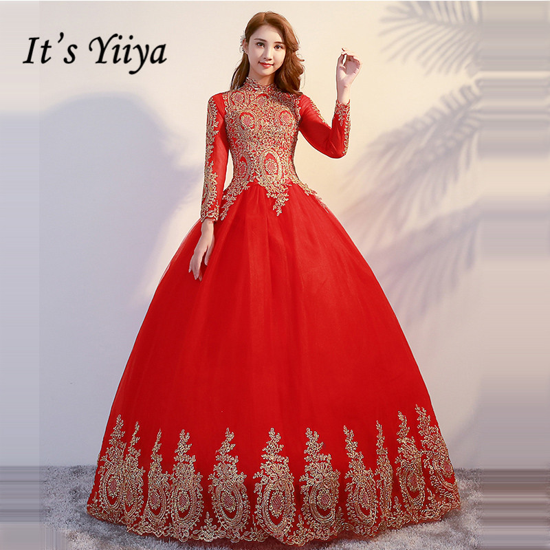 It's YiiYa Wedding Dress 2019 Gold Embroidery Long Sleeve Muslim Wedding Gowns Plus Size Vestido De Novia Free Shipping G095