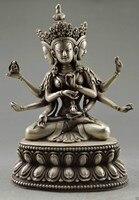 Sưu tập Trang Trí Old Thủ Công Tây Tạng Bạc Carve Phật 3 Đầu 6 Cánh Tay Tượng