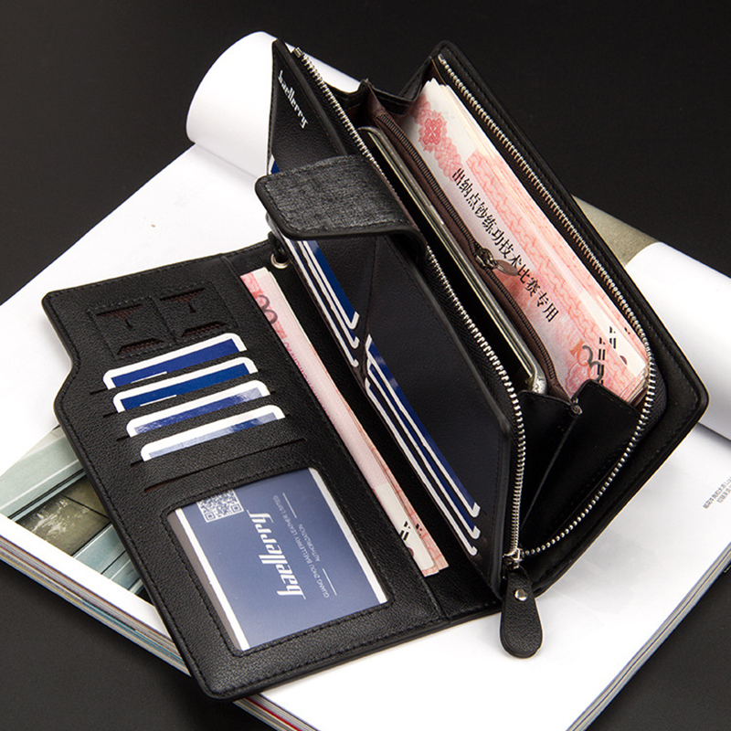 Top Quality leather long wallet men zipper wallets men women money bag pocket mltifunction brown one size 15