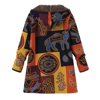 2019 Plus Size ZANZEA Winter Autumn Long Sleeve Basic Outerwear Women Retro Hooded Ethnic Printed Faux Fluffy Thin Coat Jackets 1