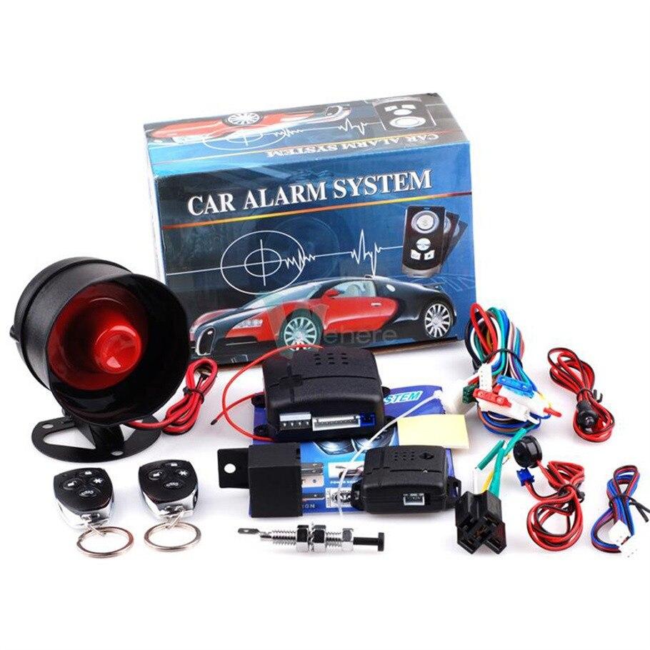 Novo universal 1-way sistema de proteção do sistema de segurança do veículo alarme de carro keyless entrada sirene + 2 controle remoto assaltante quente
