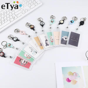 eTya Women Men Business Card Holder Cartoon Cute Retractable Credit Card Holders Bank ID Holders Badge Child Bus Card Cover Case