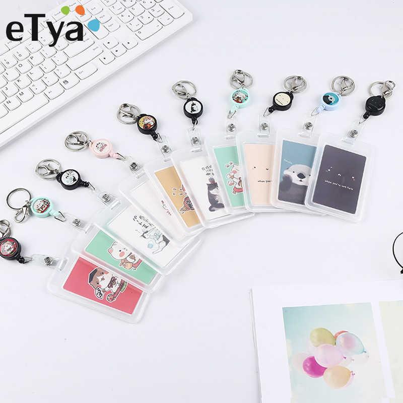 ETya النساء الرجال حامل بطاقة الأعمال الكرتون لطيف قابل للسحب حامل بطاقة الائتمان s البنك ID حاملي شارة الطفل حافلة بطاقة الغلاف