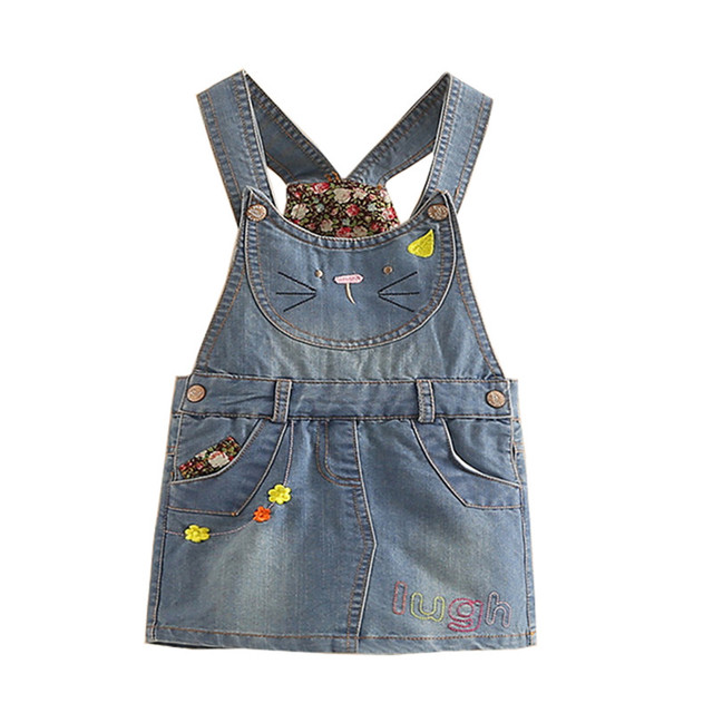 ittleSpring Girls Jeans Skirt Spring Cute Cartoon Denim Skirts Girls' Denims Suspender Overalls Girl Casual Patchwork Mini Skirt