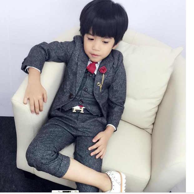 63938946416b ... Baby Blazers Suit Dark gray Kids formal dress Coat vest trousers tie  4piece Boys Clothes set ...