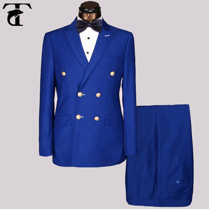 Wholesale Slim Fit Mens golden metal buttons Suits Men Double Breasted Azul Hombre Blue Black suit Point Lapel Blazer Masculine