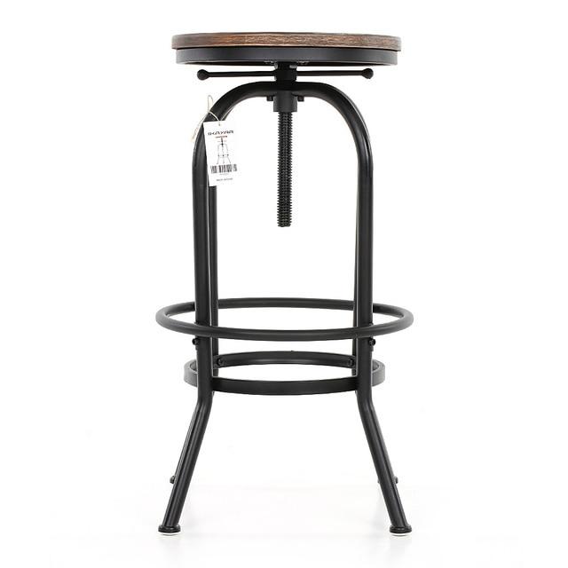 IKayaa Bar Stool Industrial Style Height Adjustable Swivel Bar Stool  Natural Pinewood Top Kitchen Dining Breakfast