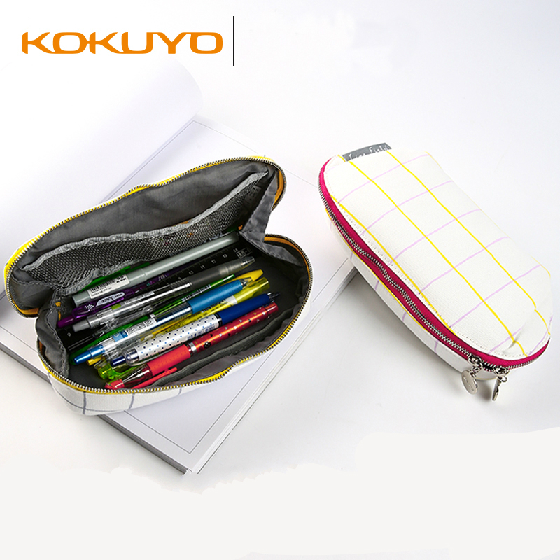 Japan KOKUYO Plaid Pencil Bag For Kids Simple Design Large Capacity Zipper Stationery Storage Bag Multifunctional Make Up Pouch plaid pattern universal 360 degree rotational zipper bag for 9 10 11 laptop white