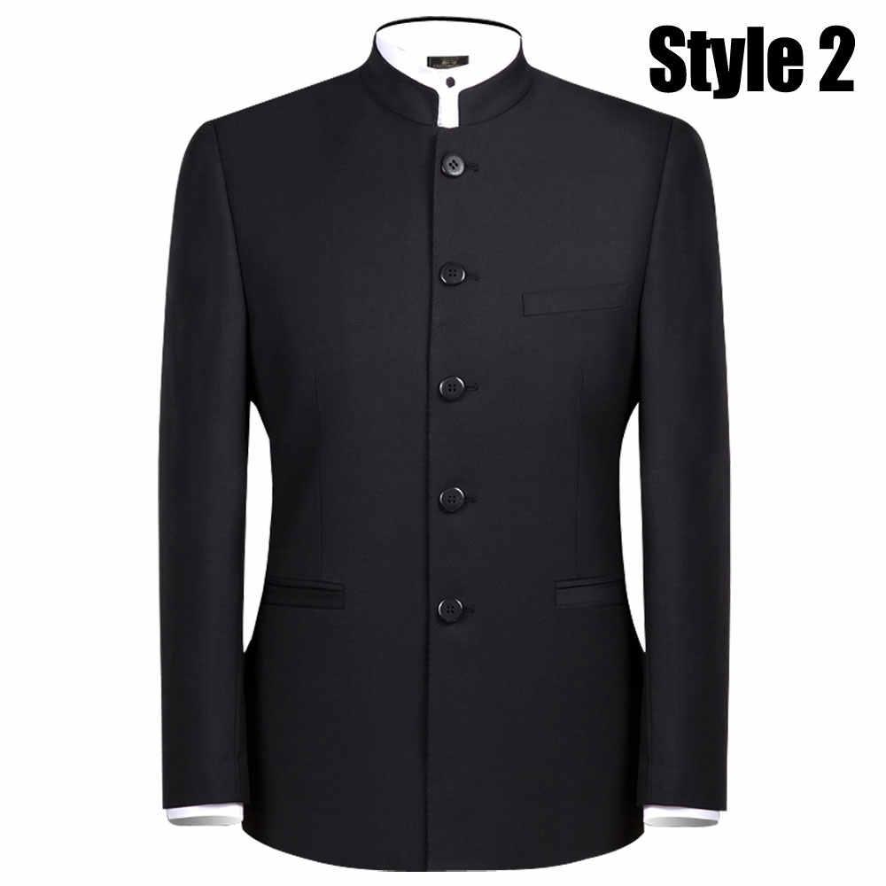 f2c28ad0c Trajes de un solo pecho para hombre bordado traje de dragón conjuntos de  moda túnica China traje de hombre Casual negro chaquetas y pantalones