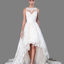2018Chapel Train Elegant Boat Neck High Low Wedding Dress