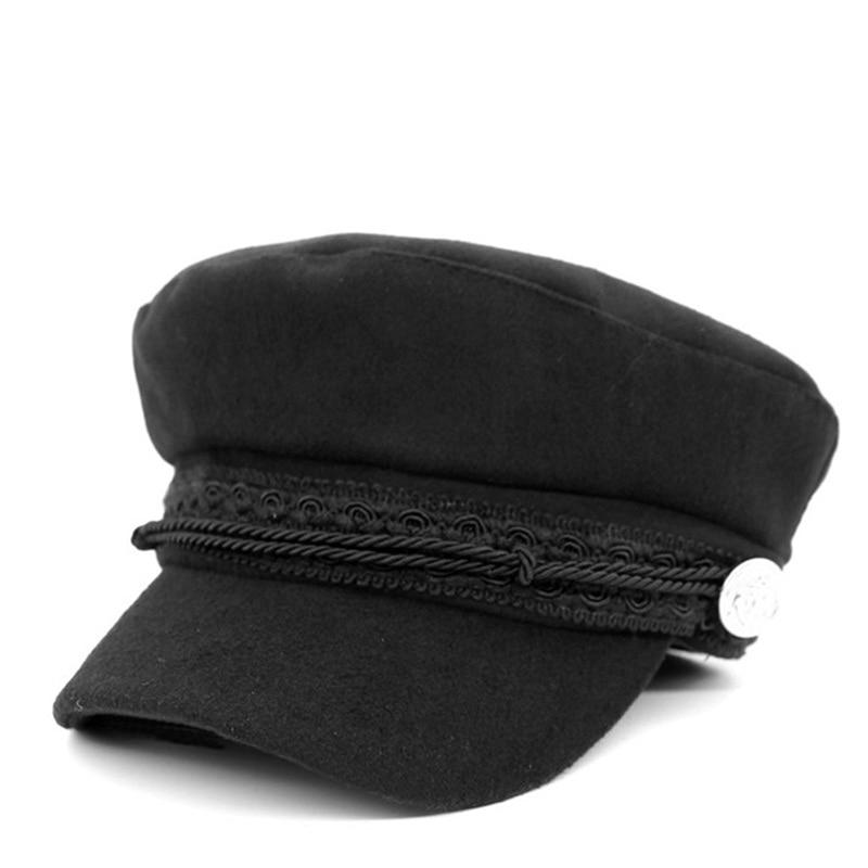 Ditpossible algodón lana sombreros militares para las mujeres moda femenina  plana gorras militares gorras sombrero en Sombreros militares de Accesorios  de ... cc144058e6e
