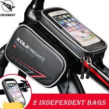 Cycling Bike Top Tube Bag 2 independent bicycle bag Rainproof MTB Bicycle Frame Front Head Cell Phone Touch Screen PU