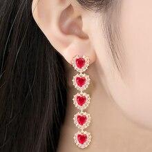 New Red Cubic Zircon Heart-Shaped Dangle Earrings Women Drop Long Jewelry Baroque Tassel Gift