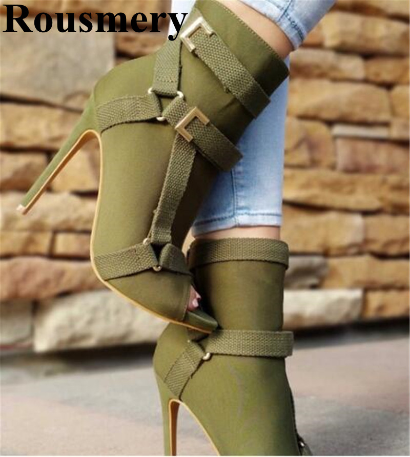 2019 Spring And Autumn Buckle Strap Thin High Heel And Open Toe Solid Fashion Sexy Women Ankle Boots High Qualit Two Color2019 Spring And Autumn Buckle Strap Thin High Heel And Open Toe Solid Fashion Sexy Women Ankle Boots High Qualit Two Color