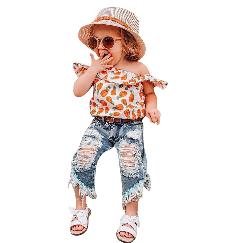 Kids Boys Girls Clothes Toddler Children Sets 2Piece Shirt Top Hole Jeans kit Outfit Little Girls Clothing Wholesale tracksuit