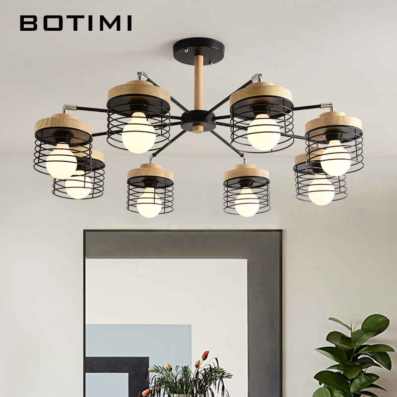 BOTIMI Wooden Lustre LED Chandelier For Living Room Wood Chandeliers Ceiling Lustres para sala de jantar Modern Dining Lights