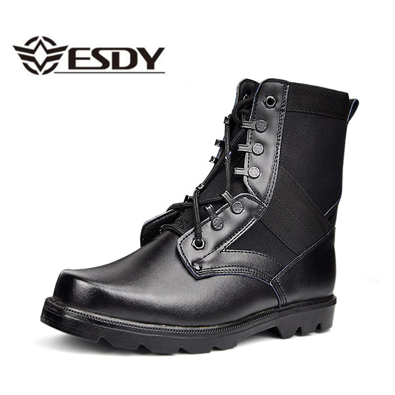 Men Military Combat Boots Steel Toe Leather Black Tactical Army Boots Men s Work Safety Desert