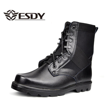 Botas militares de combate de cuero de punta de acero negro botas tácticas del ejército zapatos de trabajo de seguridad del Desierto de los hombres