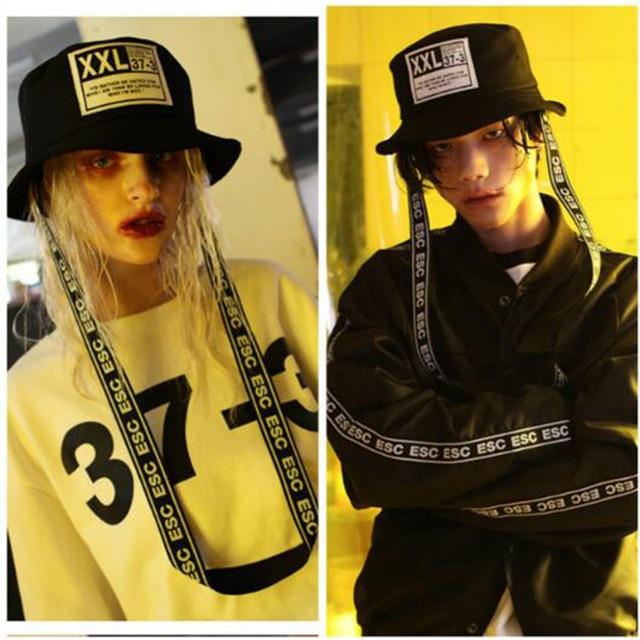 men s Black Bucket Hats long ribbon boonie hat bucket Hat gorras Panama  Punk Gothic Hip Hop women unisex f7d6c9a3ca3