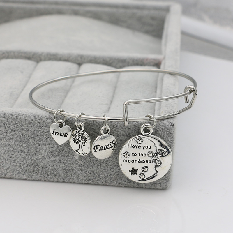 JAKONGO 2017 NEW Arrival I Love you to the Moon and back Tree of Life Charm Bracelet Bangles for Women Men Adjustable Bangles