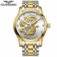 GUANQIN Men Watches Chinese Gold Dragon Brand Luxury Sculpture Quartz Watch Men Business Fashion Waterproof Wristwatches Design