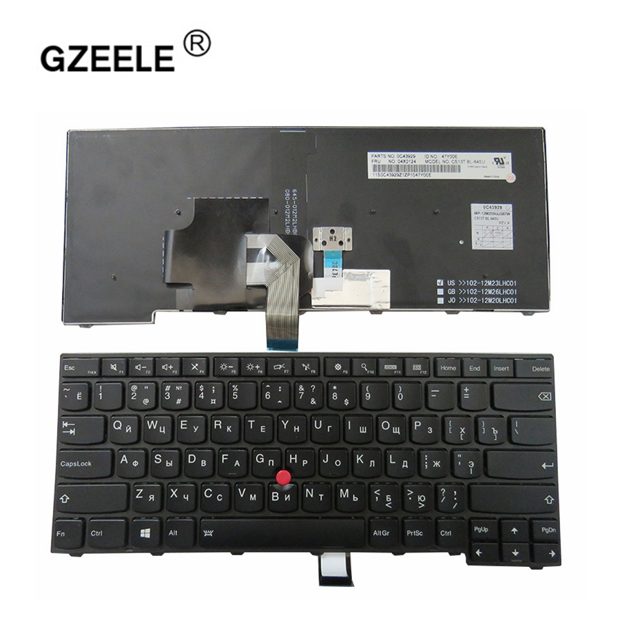 GZEELE New For Lenovo ThinkPad T440S T440P E431 T431S E440 L440 T450 Russian RU Laptop Keyboard With backlight russian new laptop keyboard for samsung np300v5a np305v5a 300v5a ba75 03246c ru layout