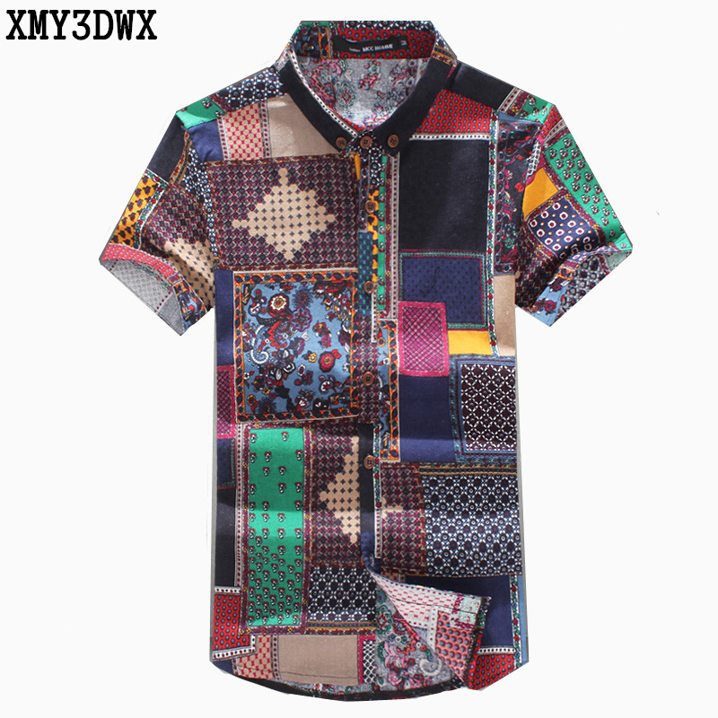 Nya 2018 Sommarmanens mode varumärke Mönster fritid linne stora meter kortärmad skjortor / Male National vind casual Print shirts