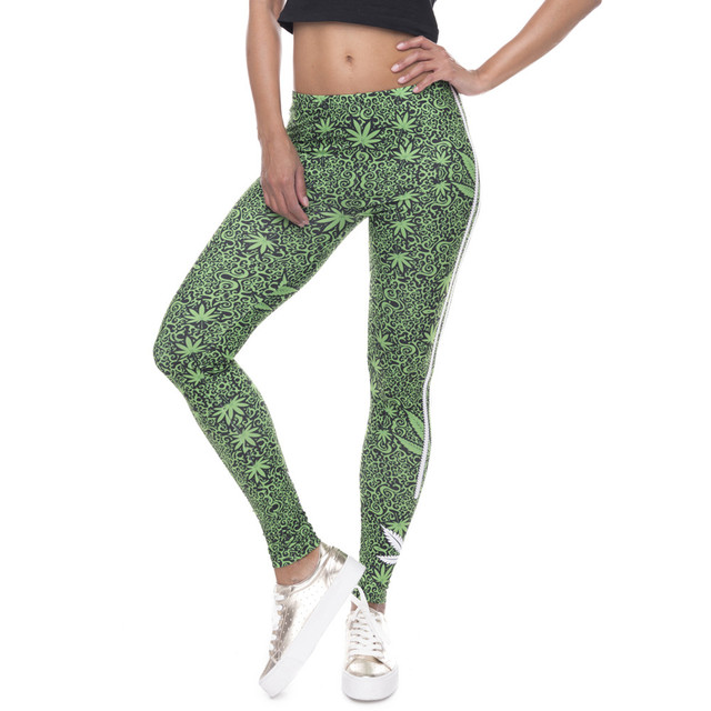 Women's Cannabis Print Sporty Leggings  1 Size