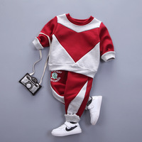 Kids Boys Clothing Set Autumn Winter Baby O Neck Long Sleeve Patchwork Red Dark Blue Toddler