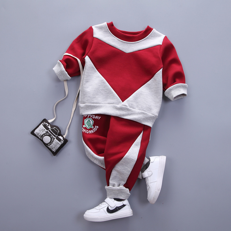 kids boys clothing set autumn winter baby o-neck long sleeve patchwork red dark blue toddler christmas outfit children clothes baby set trendy bat kids clothing twinset long sleeve set hoodie