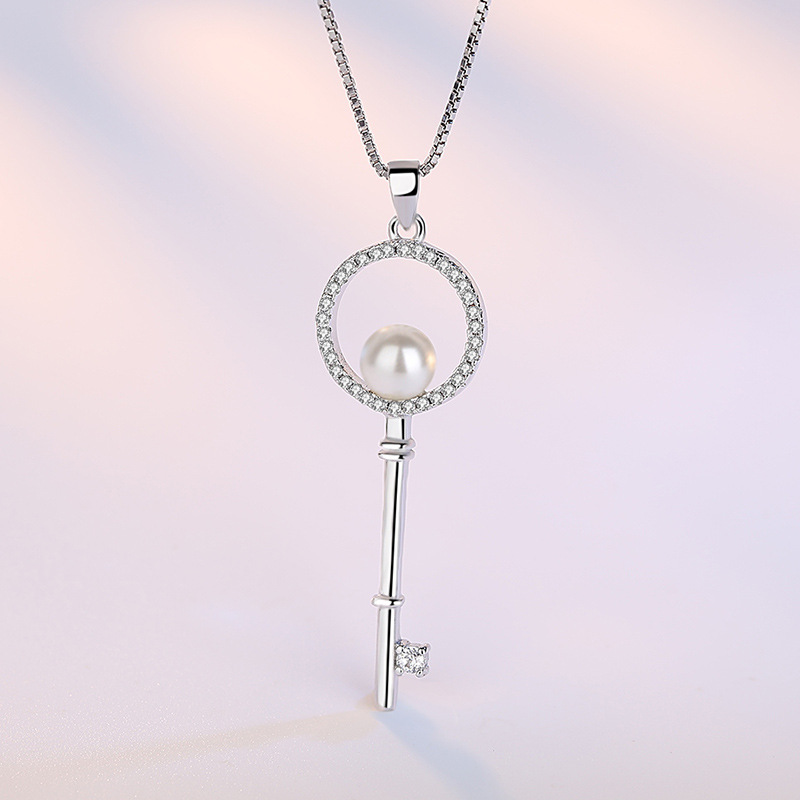 100 925 sterling silver fashion shiny crystal imitation pearl key ladies pendant necklaces women short box chain jewelry gift in Pendant Necklaces from Jewelry Accessories