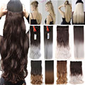 "26"" 140-145g Women Hair Extensions Black Brown Blonde Natural Straight Long Synthetic Woman Clip in Hair Extension Hairpieces"