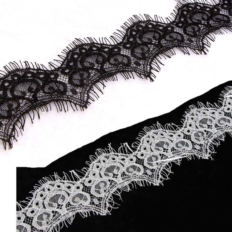 3 M Lot 5cm Width Black White Eyelashes Lace Trim Fabric Flower DIY Crafts Wedding Dress Clothing Lace Sewing Applique Fabric in Lace from Home Garden