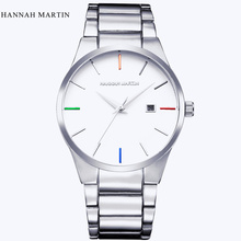Hannah Martin Luxury Brand Mens Quartz Watch Men Silver Analog Display Date Men's Wristwatch Casual Business relogio masculino curren luxury brand nylon strap analog display date men s quartz watch casual watch men sport wristwatch relogio masculino w8195
