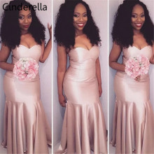 Cinderella African Pink Sweetheart Satin Pleated Mermaid Bridesmaid Dresses Hot Simple Zipper Back Wedding