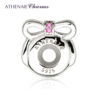 ATHENAIE 925 Sterling Silver Rubber Stopper Pave Rose Red CZ Dainty Sparkling Bow Clip Spacer Beads Charm