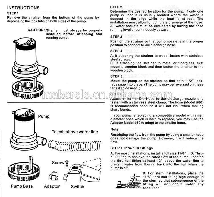 "3/4"" marine Makerele hose 10"