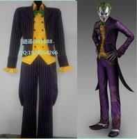 Custom made movie Batman cosplay Arkham Asylum Joker Cosplay Costume Coat Suit for adults any size