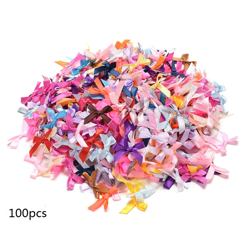 cb10c0150 100 piezas Mini satén cinta flores lazos regalo artesanía boda decoración  Adorno