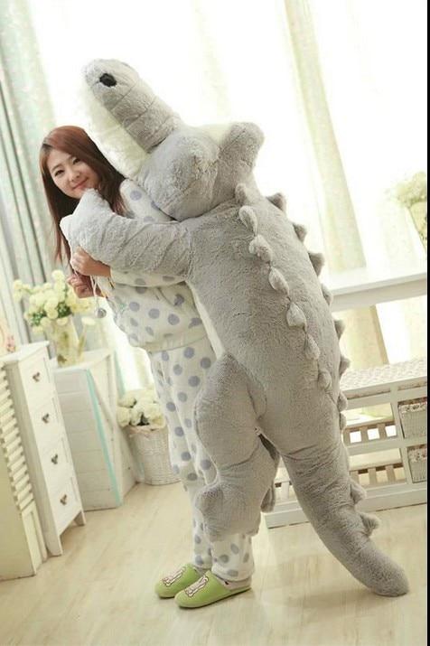 Огромный милые плюшевые мультфильм крокодил игрушки большие мягкие серый крокодил кукла подушка подарок около 200 см 0413