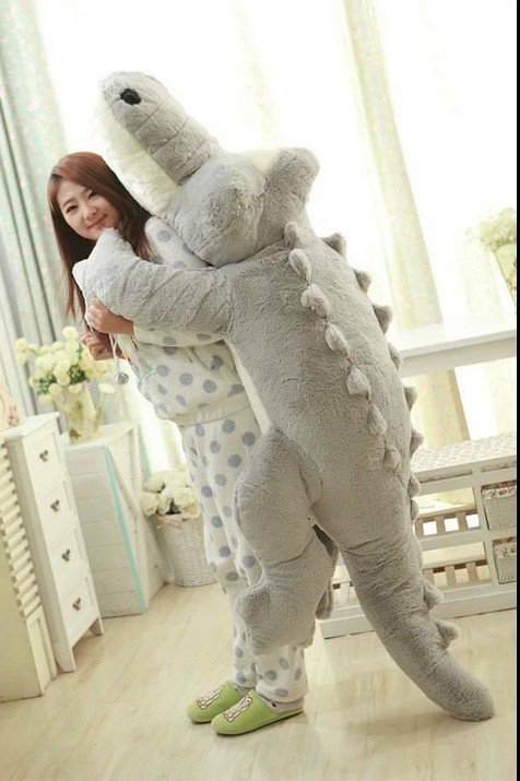 huge lovely plush cartoon crocodile toy big stuffed gray crocodile doll pillow gift about 200cm 0413 huge lovely panda toy big plush panda with stripe clothes birthday gift about 90cm
