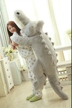 huge lovely plush cartoon crocodile toy big stuffed gray crocodile doll pillow gift about 200cm