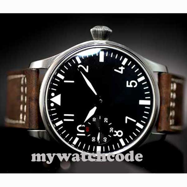 Livraison Gratuite 44mm classique cadran noir parnis lumineux makrs asie 6497 mouvement montres mécaniques à remontage manuel montre pour hommes PA01 - 3