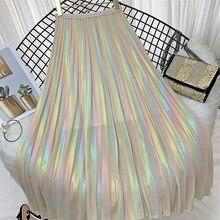 2019 Summer New High Waist Chiffon Skirt Women Vintage Rainbow Laser Gradient Pleated Skirts Casual A-Line Mid